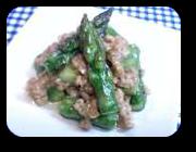 「アスパラガスの肉みそ炒め」の画像