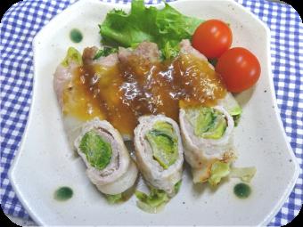 「レタスのあんかけ豚肉ロール」の画像